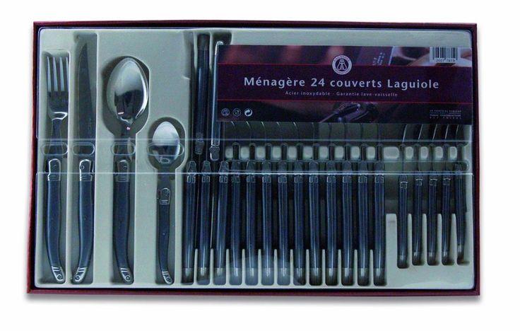 Ménagère Laguiole Ménagère 24 Pièces Acier Inox Nacré Noir