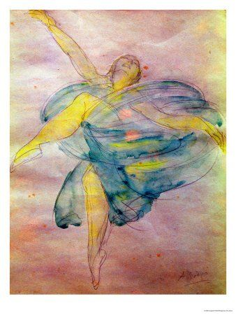 """Dancer (watercolor) by Rodin """"Auguste Rodin (1840–1917), French sculptor"""""""
