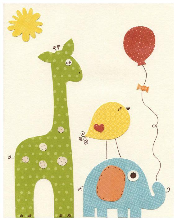 Jirafa con elefante, pájaro y globo