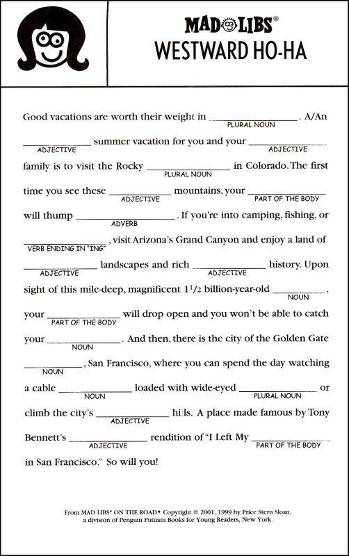 Best Mad Libs Images On   Mad Libs Road Trip Games