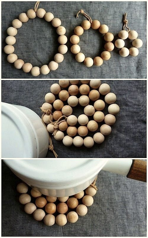Thread wood beads together in 3 loops, then tie together with a leather strip to create a trivet.