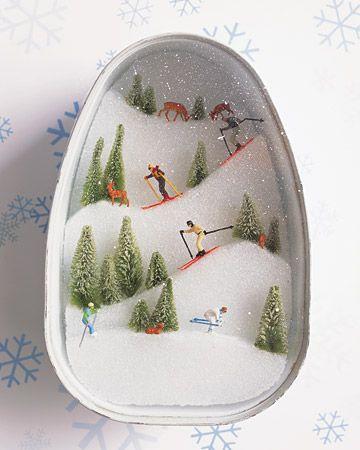 ski slopes diorama diy