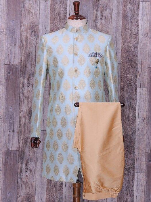 Sky Blue Color Silk Wedding Wear Indo Western, blue color, silk, wedding, groom, mens fashion