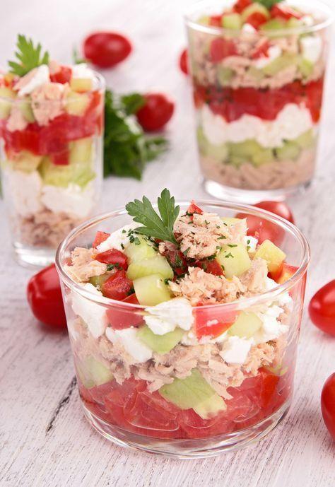Verrine toute fraîche : concombre-feta-tomate et thon