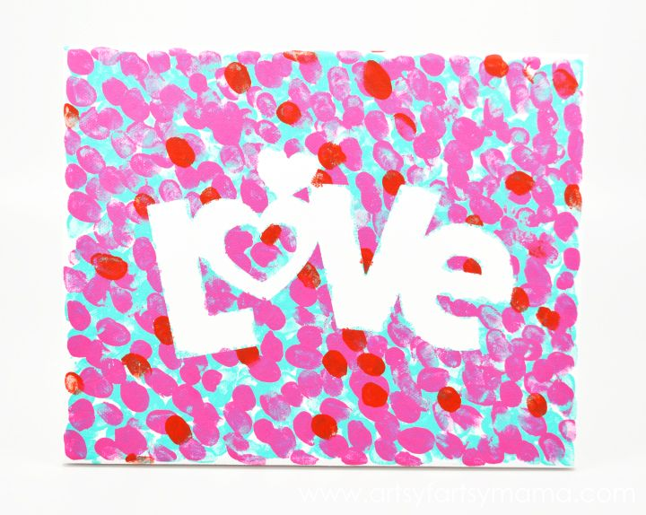 Easy Valentines Fingerprint Canvas at artsyfartsymama.com #kidscrafts #Valentines #plaidcrafts