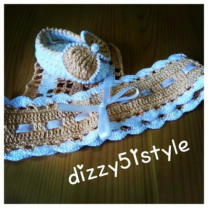Headband and booties, crocheted. On baby 9 months to 1 year, by studio #dizzy51style https://www.youtube.com/channel/UCSFoR0NWiE_kJip4j5KE2eA