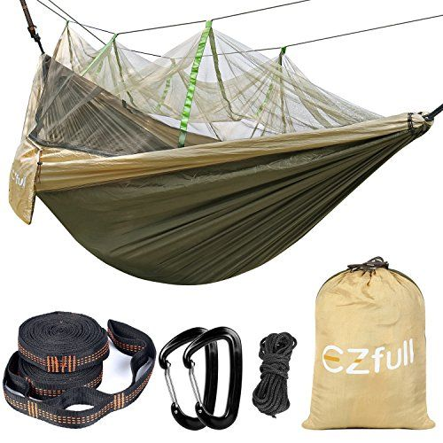 "Double Camping Hammock with Mosquito Net EZfull - Lightweight Portable Hammock Outdoor Hammock , Best Parachute Double Hammock For Backpacking, Camping, Travel, Beach, Yard. 118""(L) x 78""(W) 660LBS"