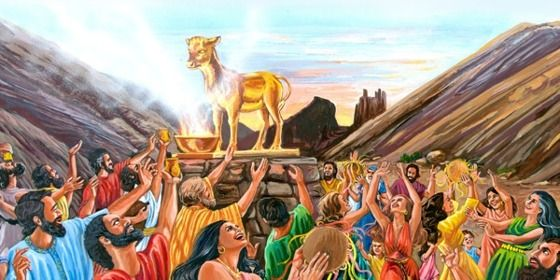 The Israelites singing, dancing, and worshipping the golden calf | My Book of Bible Stories | Tags: Jehovah's Witnesses, The Watchtower Bible and Tract Society