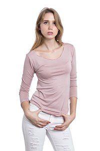Abbino Dina Basic Top T-shirt Femme Fille – Fabriqué en Italie – 8 Couleurs – Été Automne Hiver Plaine Manches Longues Elegant Classique…