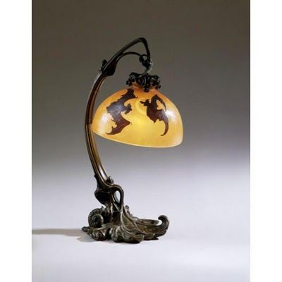 Vintage Emile Gall lamp with bat shade