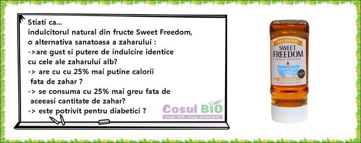 Sweet Freedom este tot ce aveti nevoie!  -are gust si putere de indulcire identice cu cele ale zaharului alb -100% natural -produs 100% din fructe : mere, struguri, roscove -cu 25% mai putine calorii fata de zahar -se consuma cu 25% mai greu fata de aceeasi cantitate de zahar -fara fluctuatii ale glicemiei -potrivit pentru diabetici, ca parte a unei diete echilibrate