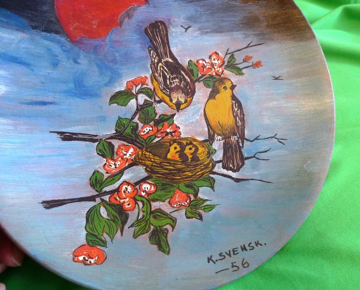 Vintage Sweden ? pottery ceramic Multi-Colour decor plaque plate by K. SVENSK 56