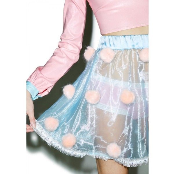 Melonhopper Sunday Funday Furball Skirt ($55) ❤ liked on Polyvore featuring skirts, pink sequin skirt, holographic skirt, ruffle skirt, pink skirt and flounce skirt