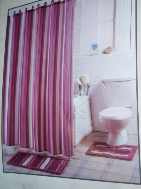 15 Pc Bath Mauve Fabric Shower Curtain Rug Hooks Set