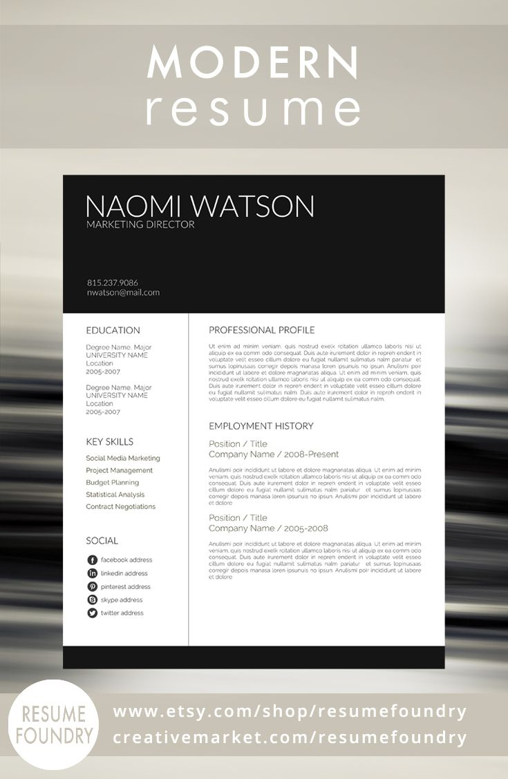 Modern Resume Template from Resume Foundry. This resume is sure to catch the recruiters eye - and that is all you need to do. Just add your awesomeness! For use with Microsoft Word - Instant Download.