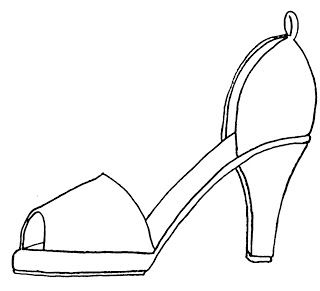 Shoe pattern line art pinterest shoe pattern for High heel shoe design template