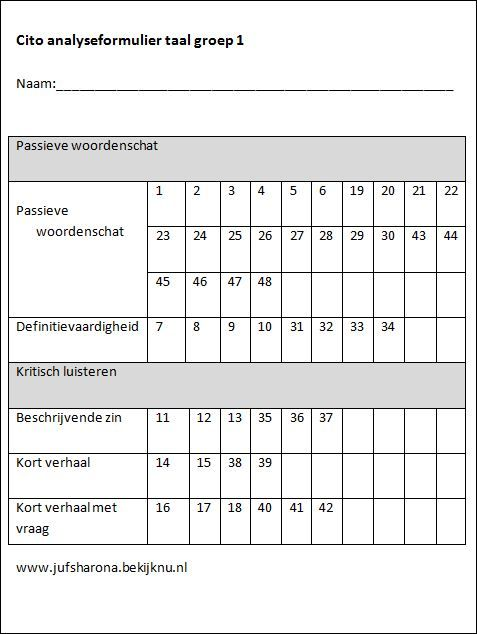 Cito analyseformulier taal groep 1