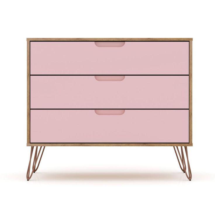 3 Drawer Nature And Rose Pink Mid Century Modern Dresser In 2020 Mid Century Modern Dresser Modern Dresser Manhattan Comfort