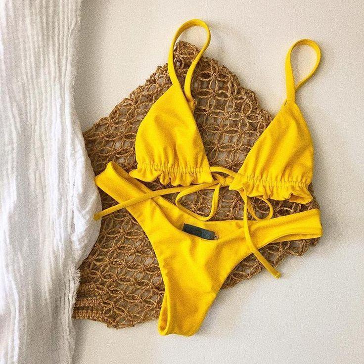 Sexy solid color bikini ruffled straps split swimsuit