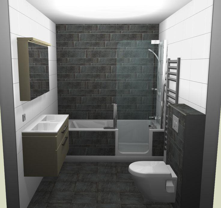 Badkamer-voorbeeld met douche en bad in 1. Zou wel andere kleuren kiezen