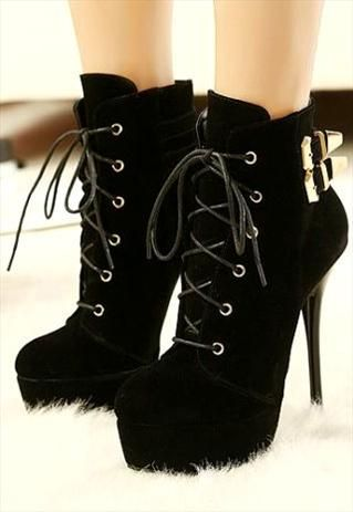 Suede Black High Heel Lace Up Buckle Design Boots