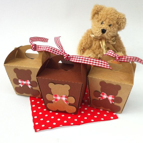 Teddy Bears Picnic Mini gift boxes. Take-out style boxes for birthdays, baby showers. Natural kraft or chocolate brown & red gingham ribbon.