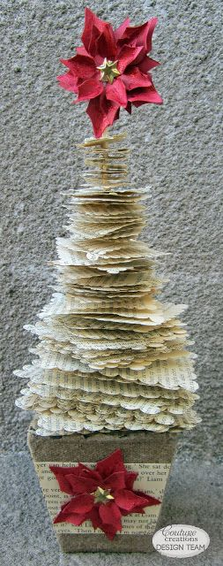 kerrie gurney [it's all about ME]: Scalloped Book Paper Christmas Tree | #oldbookpaper #christmastree #papercrafting #couturecreations #nestingdies #decorativedies #christmasdecor