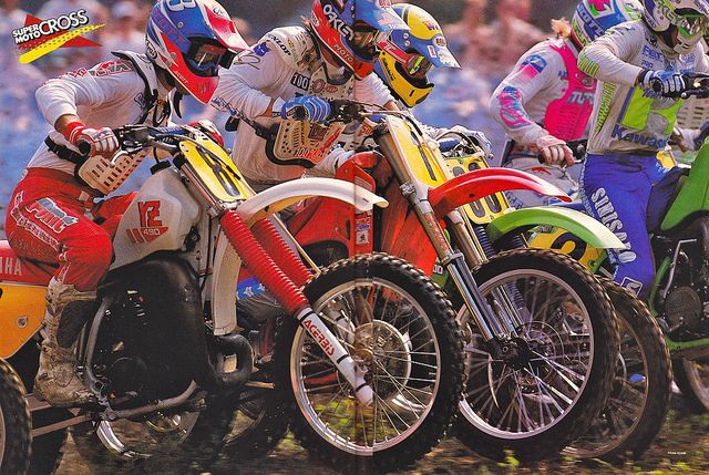 Jeff Stanton and Rick Johnson fighting for the holeshot in the 1988 500 Motocross Nationals by teyblyy, via Flickr: 500 Motocross, Johnson Fight, Flickr Stanton, Rick Johnson, 1988 500, Ricky Johnson, Motocross National, Dirt Bike, Jeff Stanton