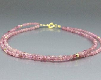 Check out Fine pink Tourmaline bracelet - two strings of Rubellite with 14K gold plated accents - gift idea - holiday season on gemorydesign
