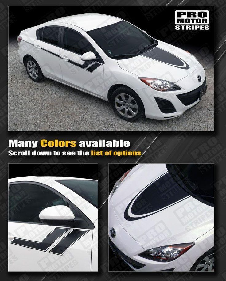 Mazda 3 2009-2013 Hood and Side Sport Hash Stripes
