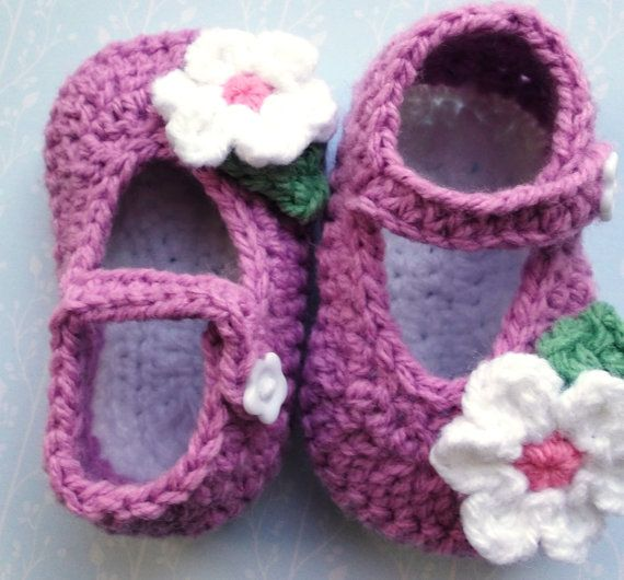 crochet baby shoes crochet Mary Janes plum handmade baby