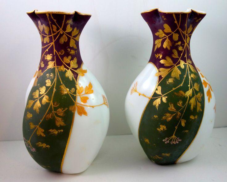 Pair of Harrach Bohemian Enameled Milk Glass Vases CA 1890s Loetz Era | eBay