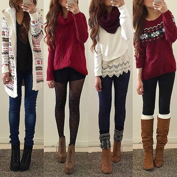 sweater christmas sweater christmas fair isle fair isle sweater cardigan tights platform lace up boots platform combat boots boots leggings rinasenorita scarf red burgundy cute girly winter outfits winter sweater white blouse shoes socks outfit fall outfits jeans shorts jacket