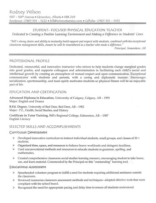 pe teacher resume example - Sample Educational Resume