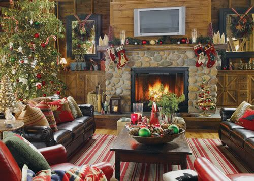 Open fire place log cabin Christmas