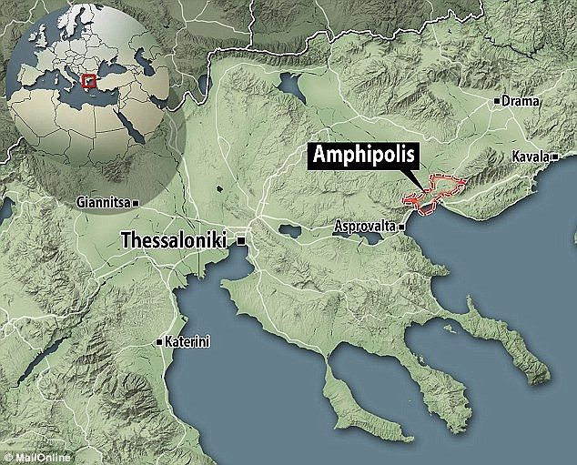 Experts believe the ancient mound, situated around 65 miles (100km) from Thessaloniki (shown on the map) was built for a prominent Macedonian in around 300 to 325BC