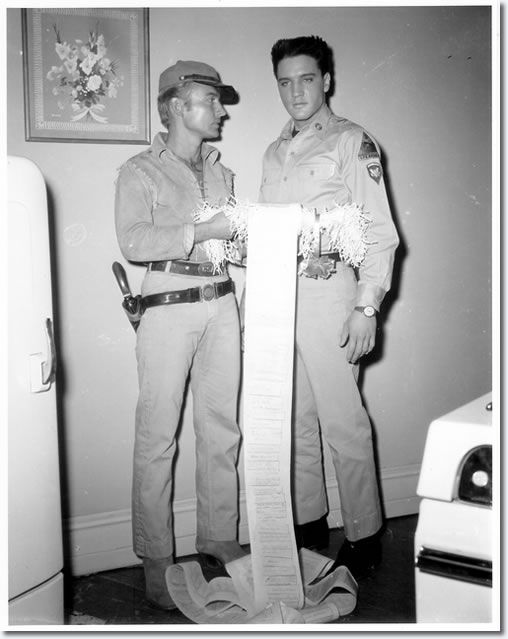 Nick Adams and Elvis Presley, Elvis was filming 'G.I. Blues', Nick Adams, 'The Rebel'.