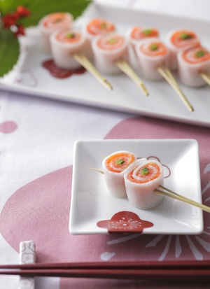 Pickled Turnip and Smoked Salmon Roll on a Pine Needle Stick, Japanese-Style Side Dish|かぶらとサーモンの奉書巻き