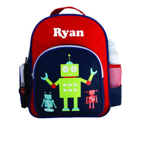 Personalised Preschool Back Pack Robot Navy