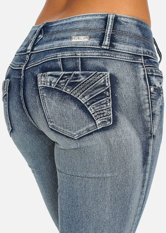 Butt Lifting Ripped Jeans With Embellished Back Pockets (Faded Wash)