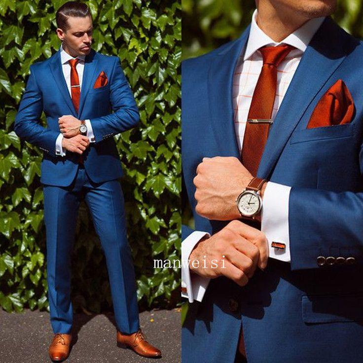Blue Men's Fit Wedding Suits Groom Tuxedos Groomsmen Formal Suit Jacket+Pants…