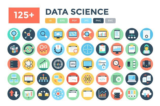 125 Flat Data Science Vector Icons Marketing Icon Office Icon