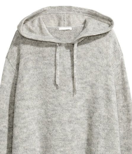 Check this out! Sweater in a soft knit with wool and alpaca wool content. Drawstring hood, dropped shoulders, and slits at sides. - Visit hm.com to see more.