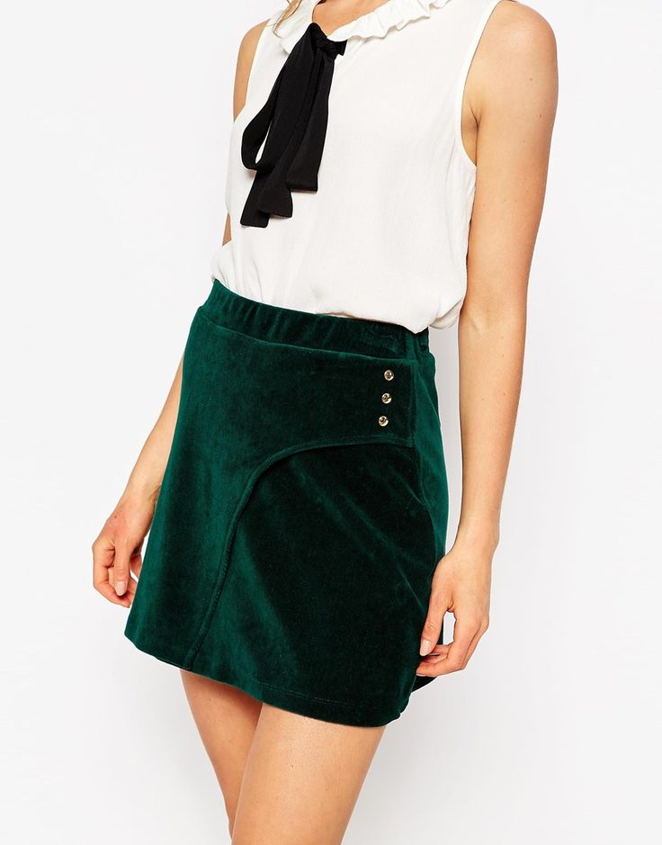 Image 3 of ASOS Cord A-Line Skirt With Curved Button Wrap