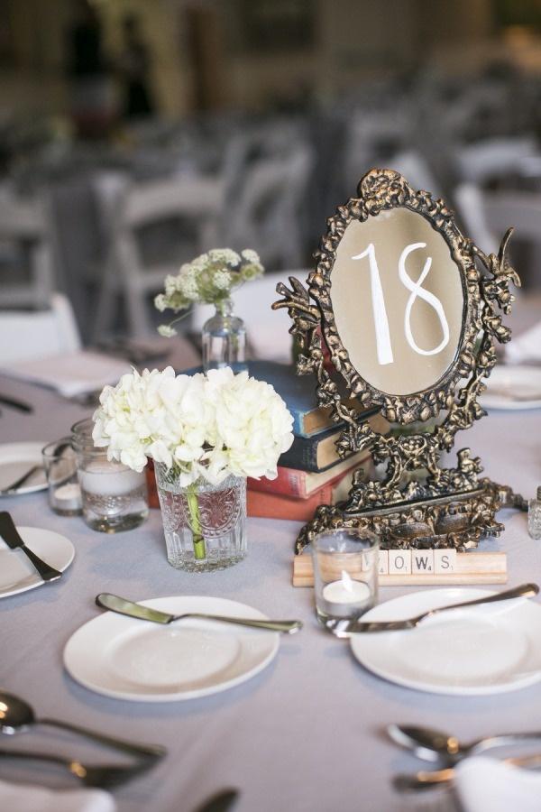 Magic Mirror For Table Numbers With The Subtle Beauty And Beast Theme Wedding Reception