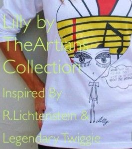 LILLY     WAS INSPIRED FROM THE UNIQUE FASHION MODEL OF THE 60S TWIGGY WHOSE PERSONALITY OUTSTOOD MAKING HER A ROLE MODEL FOR FUTURE GENERATIONS AND STYLE.ON HER HAIR HAS BEEN IMPRINTED OUR VERSION OF R.LICHTENSTEIN S ART WORK. LICHTENSTEIN AN EXCEPTIONAL POP ART PAINTER  OF THE SAME PERIOD,WAS THE FIRST TO INTRODUCE COMIC STRIPS TO ART.