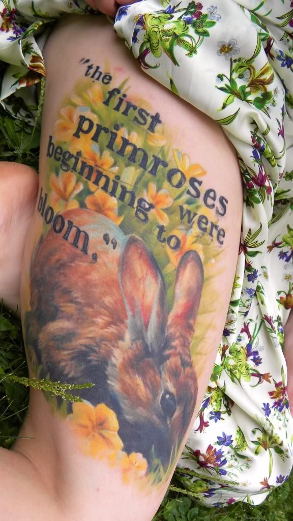 """In this gorgeous piece above by artist Rabbit Abbey, LiveJournal user smallpio1990 remembed the death of Hazel-Rah and the last line of the novel."" Watership Down tattoos"
