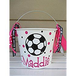 Personalized 5 quart Easter pail Bucket - soccer ball - Easter basket