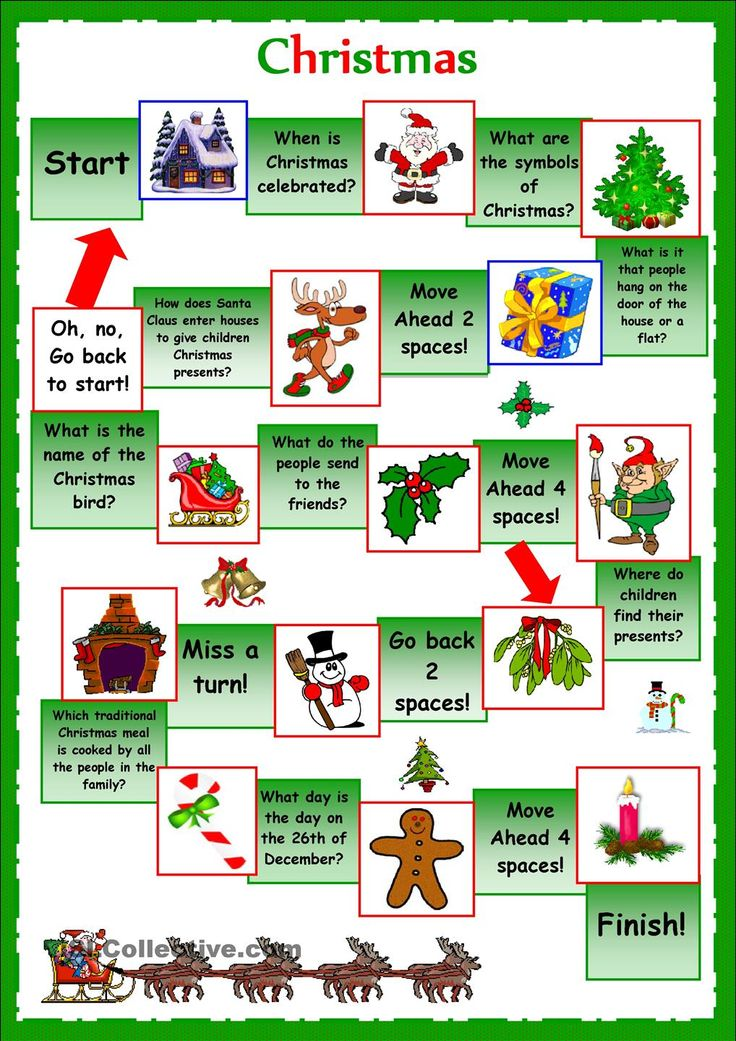 esl christmas board game worksheet Google Search