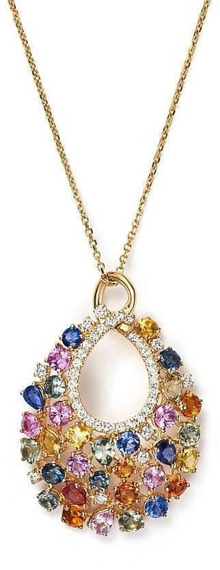 """Diamond and Multi Sapphire Pendant Necklace in 14K Yellow Gold, 16"""""""